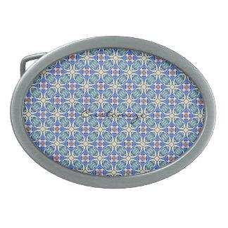Blue mandala hearts pattern Thunder_Cove Oval Belt Buckle