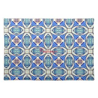 Blue mandala hearts pattern Thunder_Cove Placemat