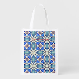 Blue mandala hearts pattern Thunder_Cove Reusable Grocery Bag