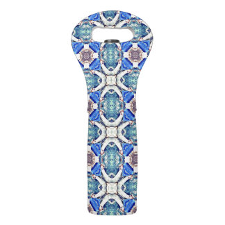 Blue mandala hearts pattern Thunder_Cove Wine Bag