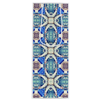Blue mandala hearts pattern Thunder_Cove Wine Gift Bag
