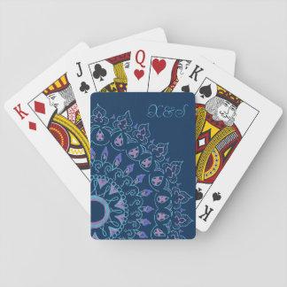 blue mandala playing cards