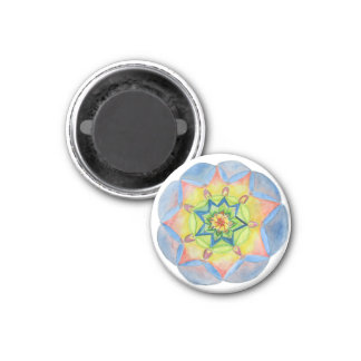 Blue mandala  Small, 1¼ Inch Round Magnet