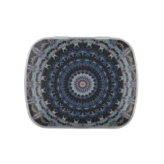 Blue Mandala square candy tin