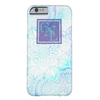 Blue Mandalas with Custom 3 letter Monogram Barely There iPhone 6 Case