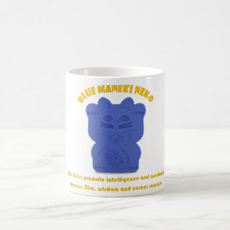 Blue Maneki Neko Both Paws Mug