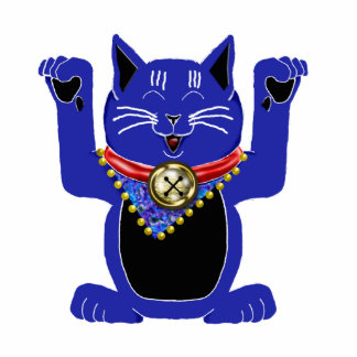 blue maneki neko photo sculpture decoration