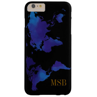 blue map of world with initials barely there iPhone 6 plus case