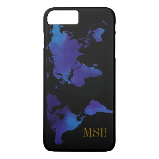 blue map of world with initials iPhone 7 plus case