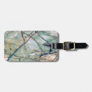 Blue marble luggage tag