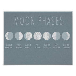 Blue Marble Moon Phases Poster