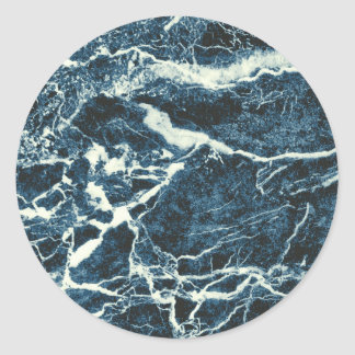 Blue marble round sticker