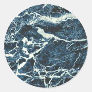 Blue marble round sticker