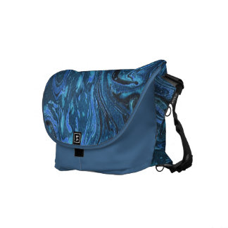 Blue Marbled Abstract Pattern Messenger Bag