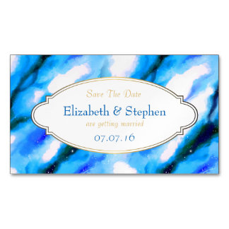 Blue Marbled Outer Space Abstract Save The Date Magnetic Business Card