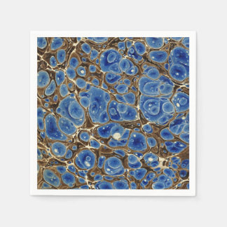 Blue Marbleized Disposable Napkin