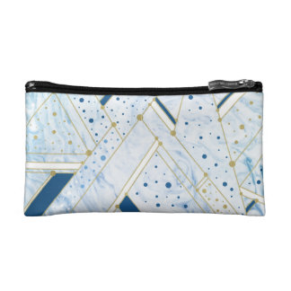 Blue marbling & golden dots geometry Cosmetic  Bag