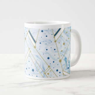 Blue marbling & golden dots geometry mug