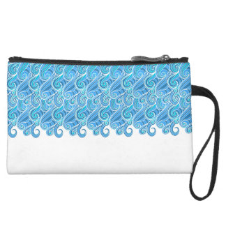 Blue marine abstract swirl waves wristlet purses