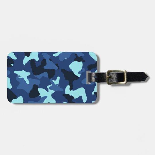 Blue marine army camo camouflage pattern luggage tag