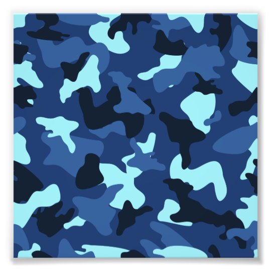 Blue marine army camo camouflage pattern photo print
