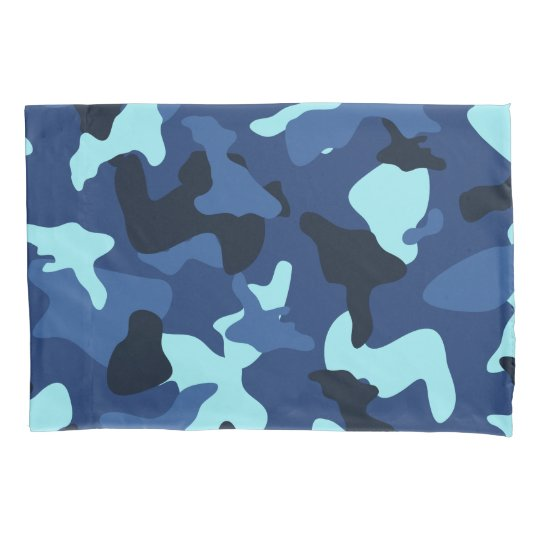 Blue marine army camo camouflage pattern pillowcase