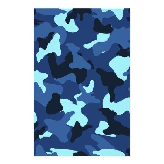 Blue marine army camo camouflage pattern stationery