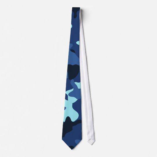 Blue marine army camo camouflage pattern tie
