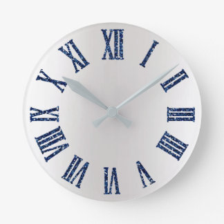 Blue Marine Glitter Gray Silver Ombre Minimal Round Clock