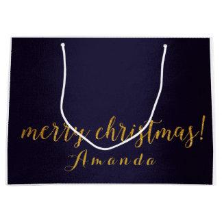 Blue Marine Gold Merry Christmas Gift Large Gift Bag