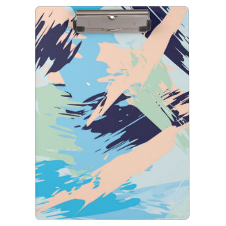Blue Maritime Nautical Brushstroke Pattern Clipboard