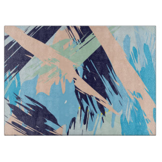 Blue Maritime Nautical Brushstroke Pattern Cutting Board