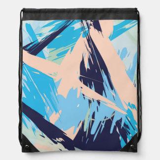 Blue Maritime Nautical Brushstroke Pattern Drawstring Bag
