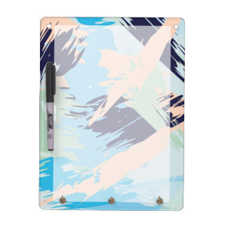 Blue Maritime Nautical Brushstroke Pattern Dry Erase Board