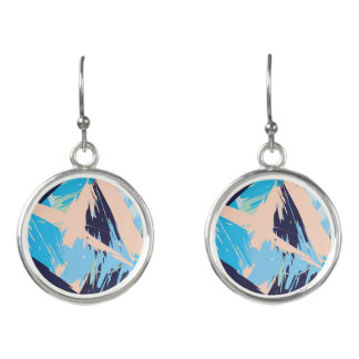 Blue Maritime Nautical Brushstroke Pattern Earrings