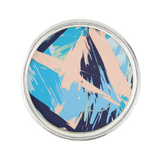 Blue Maritime Nautical Brushstroke Pattern Lapel Pin