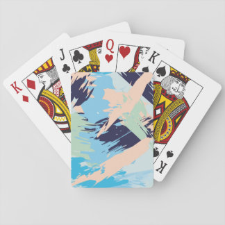 Blue Maritime Nautical Brushstroke Pattern Playing Cards