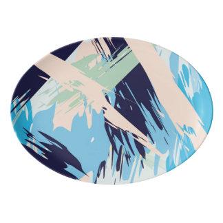 Blue Maritime Nautical Brushstroke Pattern Porcelain Serving Platter