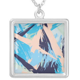 Blue Maritime Nautical Brushstroke Pattern Silver Plated Necklace