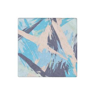 Blue Maritime Nautical Brushstroke Pattern Stone Magnet