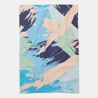 Blue Maritime Nautical Brushstroke Pattern Tea Towel
