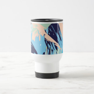 Blue Maritime Nautical Brushstroke Pattern Travel Mug