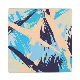 Blue Maritime Nautical Brushstroke Pattern Wood Coaster