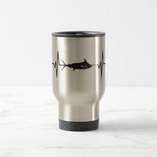Blue Marlin Fish - Heartbeat Pulse Graphic Travel Mug
