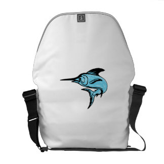 Blue Marlin Fish Jumping Drawing Courier Bags