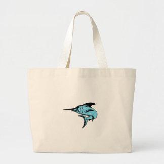 Blue Marlin Fish Jumping Drawing Large Tote Bag