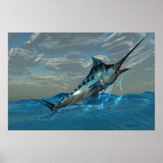 Blue Marlin Jump Print