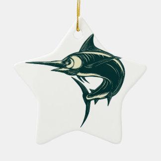 Blue Marlin Jump Scratchboard Ceramic Ornament