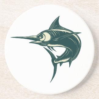 Blue Marlin Jump Scratchboard Coaster