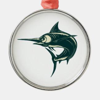 Blue Marlin Jump Scratchboard Metal Ornament